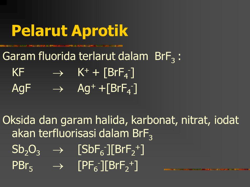 Pelarut Aprotik Garam fluorida terlarut dalam BrF3 : KF  K+ + [BrF4-]